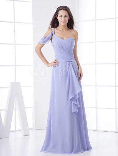 Vestido de damas de color lila de gasa estilo imperio con un solo hombro hasta el tobillo - Milanoo.com