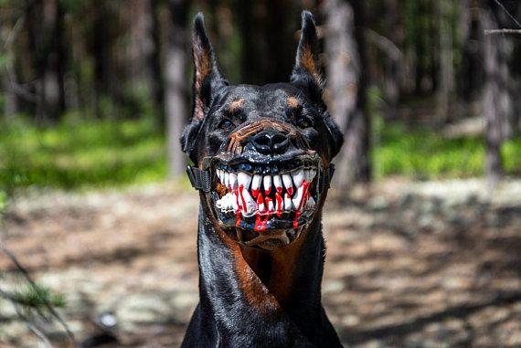 Pet Gift Werewolf Dog Muzzle Scary Doberman Muzzles Custom Painted Training Accessory Hal