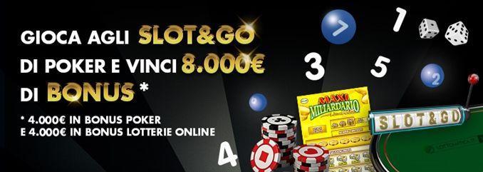 Slot and go Poker: in palio 8mila euro di bonus per i giochi Lottomatica