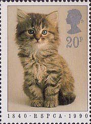 RSPCA sello de 20 peniques (1990) del gatito