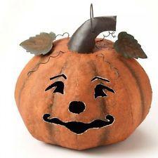 Linterna Calabaza de Halloween Metálica Grande Decoración Interior Al Aire Libre