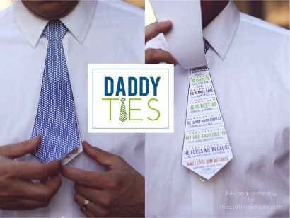 Daddy Ties Printable- we love this flip tie idea and other DIY Fathers Day Crafts on Frugal Coupon Living.