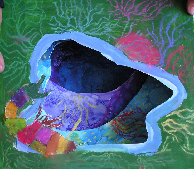Tunnel book by Sára - tempera, brilliant water colours, salt and soft pastels