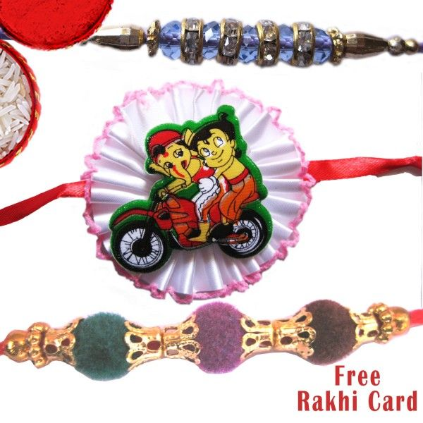 Velvet With Kids Rakhi Set - Rakhi Sets - Rakhi for Brother - Rakhi