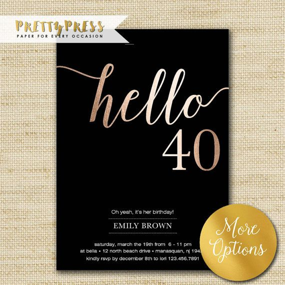 These black and gold 40th birthday invitations are a perfect way to invite friends and family to a party!  I can print your cards or simply purchase