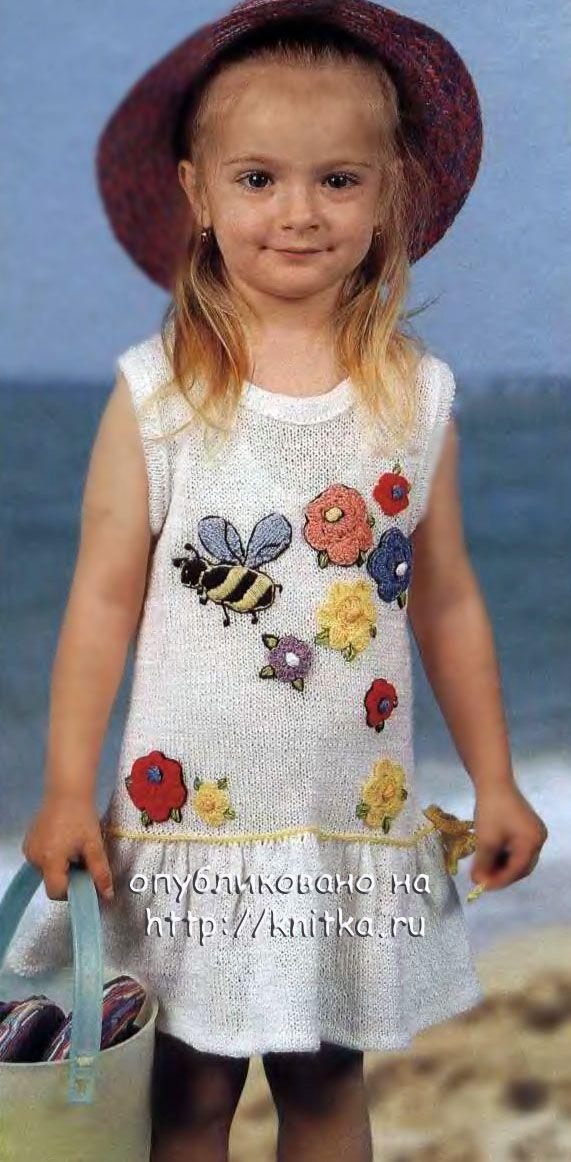 Белое платье для девочки - описание, схемы.