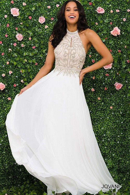 Ivory Embellished Halter Neckline Chiffon Dress 41594