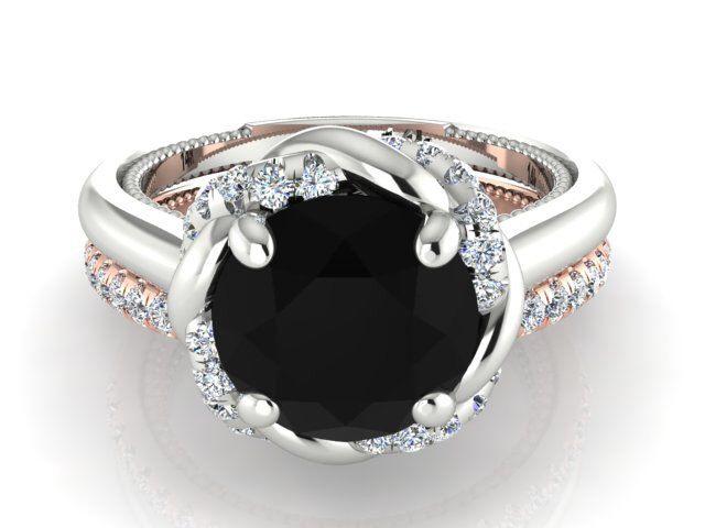 Bohemian Engagement rings set, Elegant Wedding ring set, Black Diamond wedding ring set, Black and white diamonds Bridal rings by BridalRings on Etsy https://www.etsy.com/listing/258729023/bohemian-engagement-rings-set-elegant
