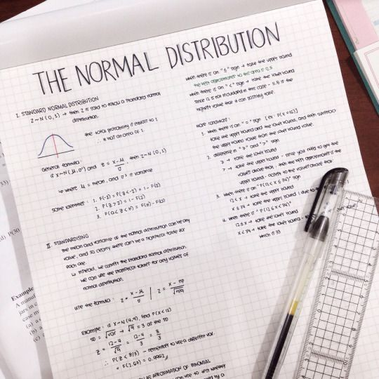 theprocrastinatorspost:  summarized normal distribution for my class test on friday.
