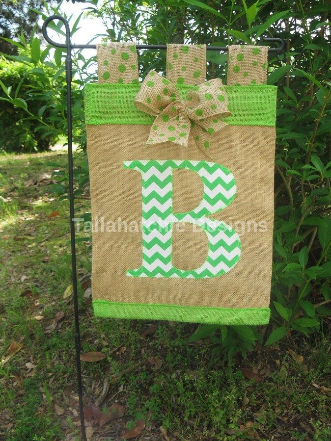 Burlap Chevron Initial Garden Flag*Spring Monogram Applique Garden Flag* Mother's Day Flag by TallahatchieDesigns on Etsy https://www.etsy.com/listing/194892696/burlap-chevron-initial-garden-flagspring