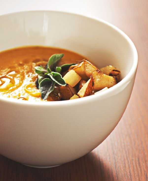 When the weather cools, swap salads for soups like this butternut squash and apple variety.