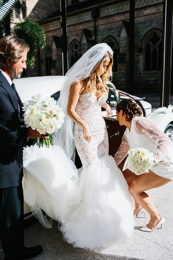 Amazing 'Leah Da Gloria' Wedding Gown with Veil.  Fitted, Button Up Back, French Lace, Tan Bodice with Pearl Details.  Train with Cathedral Veil.  ...