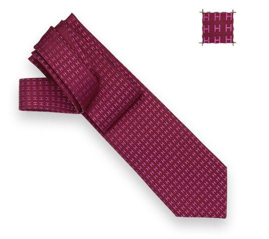 """Façonnée H Bicolore Silk twill tie, hand folded, 3.15"""""""