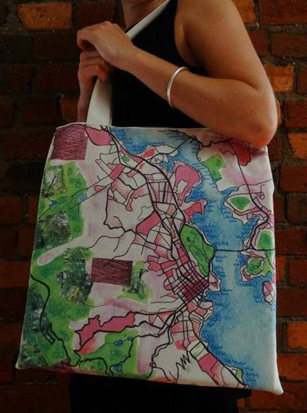 Hobart City Map Tote- hand made bag with ink and watercolour illustration printed on organic hemp, available to buy at www.rebekahpearson.com