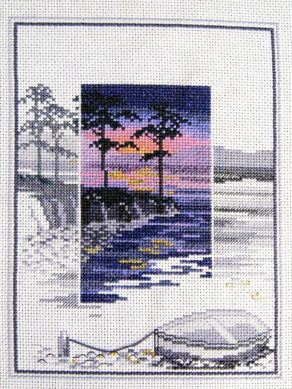Sunset Cross Stitch Completed Crossstitch by LookingGlassDesigns1, £85.00