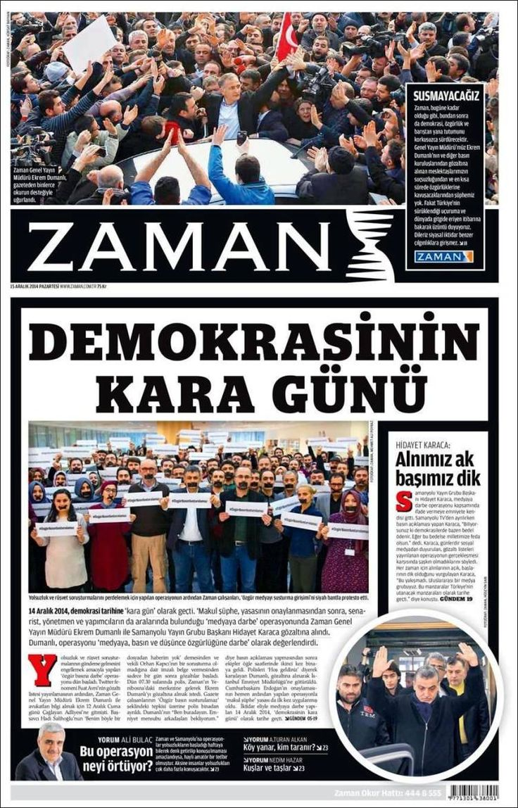 'A black day for democracy' - Zaman (Turkey) 15 December 2014