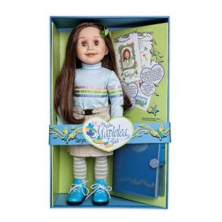 Taryn comes ready for outdoor adventure in her cozy cotton striped turtleneck, her khaki skirt with buckle closure, funky striped tights and her oh-so-comfortable hiking boots. Her long brown hair is held back with two tiny green hair clips.