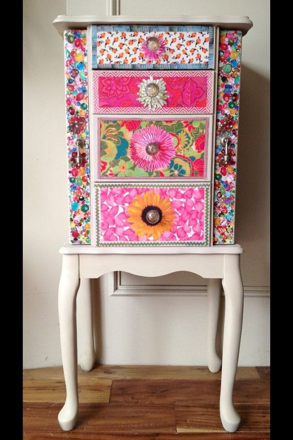 mueble con decopatch washi tape y decopach pinterest