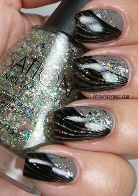 Nail art - Grey with glitter with black wavy design. (Love the flowing look, should do this now and then, I usually use straight lines)
