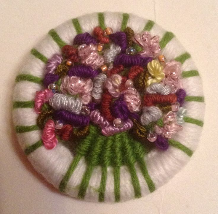 Spring colours & seed beads for this posy brooch in various threads.