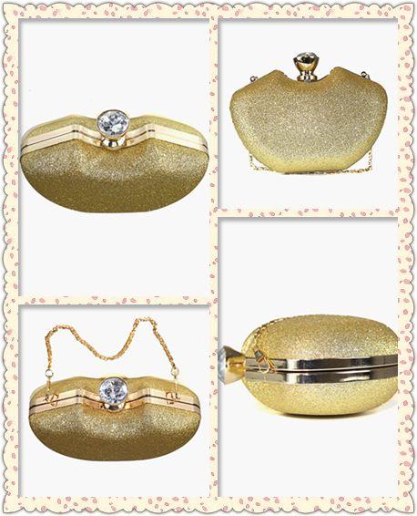 Gliter cadena del bolso fiesta dorado embrague