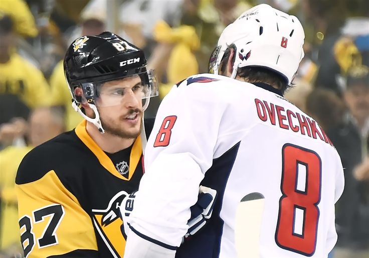Sidney Crosby shakes hands with Capitals winger Alex Ovechkin during the teams' playoff series last year.