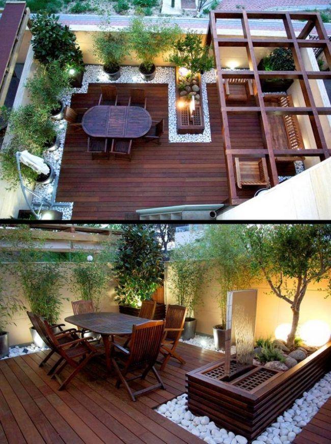 gartengestaltung-kleine-garten-terrasse-zierkies-holz-bodenbelag-brunnen-bambuspflanzen
