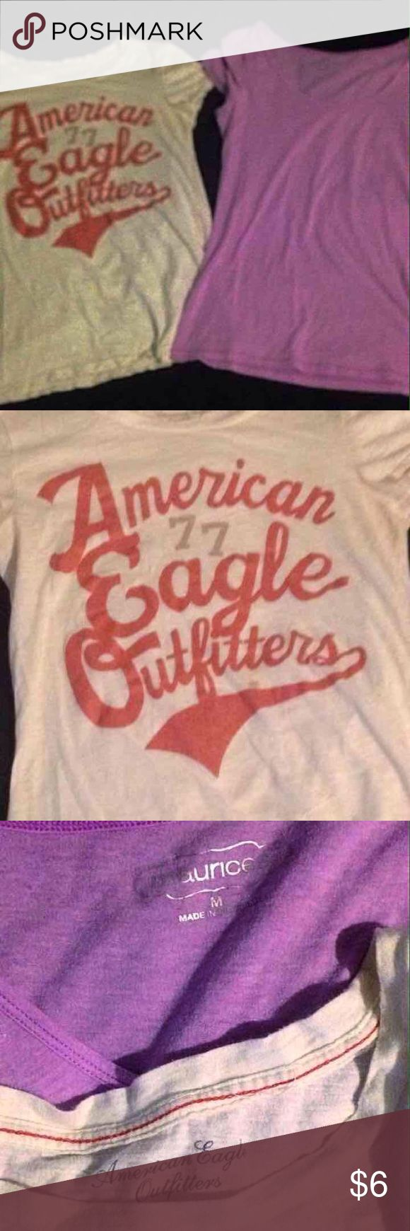 TShirt Bundle AE large TShirt . Tiny sport that i will treat and am sure can get it out. A new medium Maurice TShirt. Both fit large American Eagle Outfitters Tops Tees - Short Sleeve