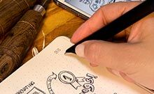 Mole skin, pen & smart phone all linked together to easily digitize notes, drawings & edit!!
