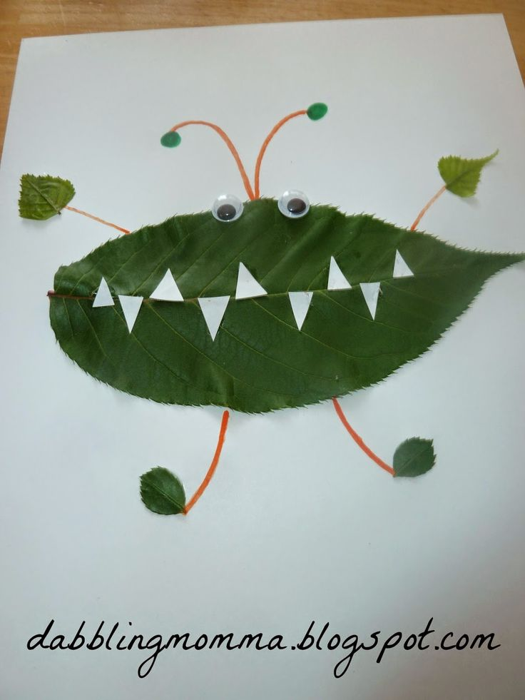 Leaf Creatures art project from Dabblingmomma