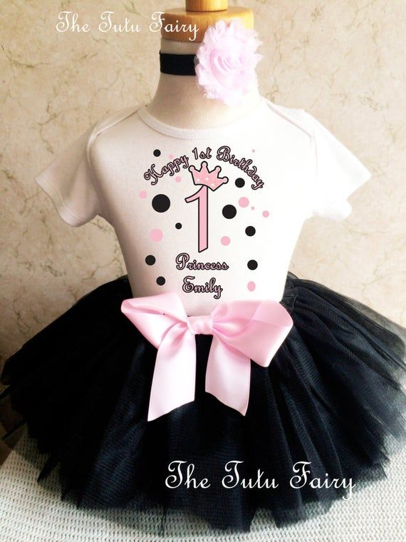 Black Pink Princess crown Number Crown Girl 1st Birthday Tutu Outfit Shirt Set