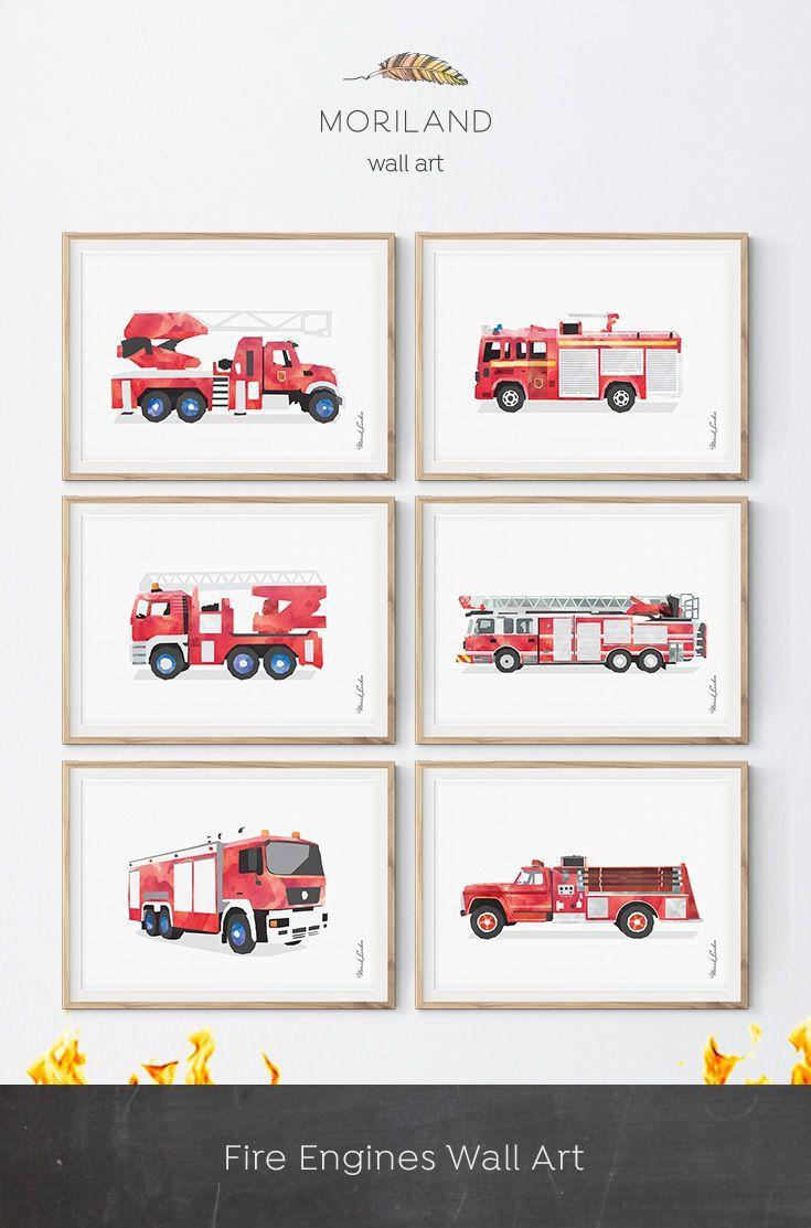 Fire Truck Wall Art Ladder Truck Printable Firetruck Print Fire
