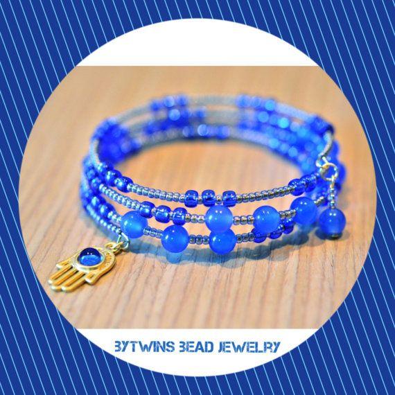 Beaded Blue Bracelet with hamsa charm and semi precious by BYTWINS