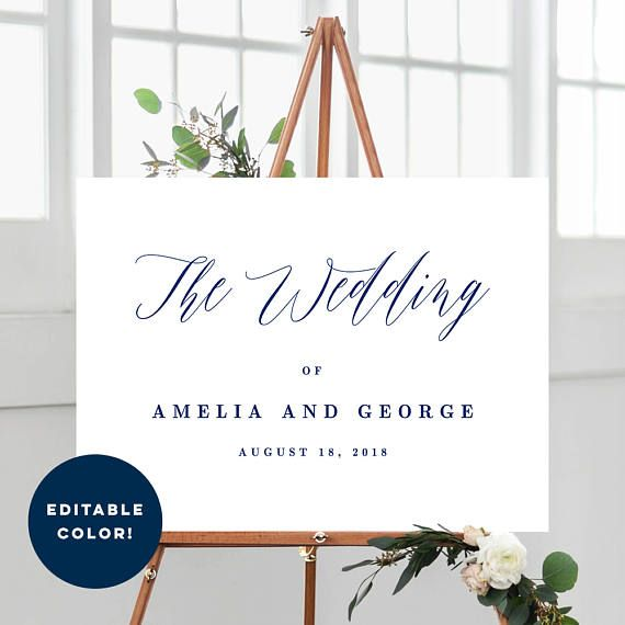 2 Sizes Wedding Welcome Sign Poster Templates With Editable Font Color - Modern Script - Editable PDF Template - Instant Download
