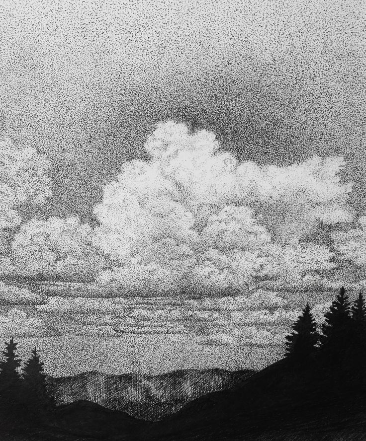 Altay, clouds over the valley, black pen drawing, paper 21x29, thousands of points :)