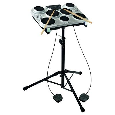 SpeCountrum Ail 602 Seven Pad Digital Drum with Drum Stand, Light Silver
