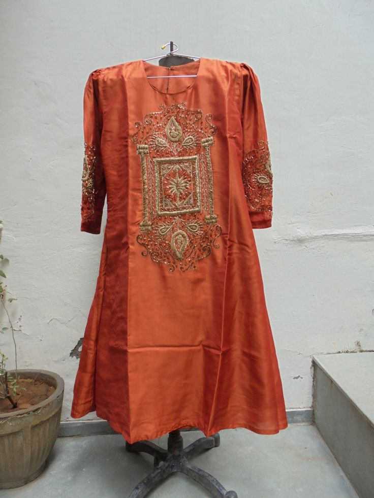 Beautiful Vintage Orange Silk Festival Kurta Hand Embroidered with Gold Thread Work. by LallibhaiIndia on Etsy