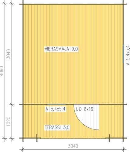 1695e Vierasmaja 3     - sisätila 300 x 300 cm      - veranta 100 x 300 cm      - seinäkorkeus 185 cm      - harjakorkeus 235 cm      - toimituspaketin mitat 55 x 106 x 510 cm     - paino 800 kg      - pohjakuva (linkki)Vierasmaja 3 (12m2 malli)     - sisätila 300 x 300 cm      - veranta 100 x 300 cm      - seinäkorkeus 185 cm      - harjakorkeus 235 cm      - toimituspaketin mitat 55 x 106 x 510 cm      - paino 800 kg      - pohjakuva (linkki)