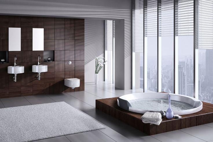 Nowoczesna łazienka - my też chcemy relaksować się w jacuzzi z widokiem na panoramę Manhattanu!fot. fotolia.com
