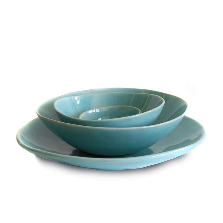 Monochromatic Dinnerware Aqua by Mervyn Gers #GrandDesignsHeals