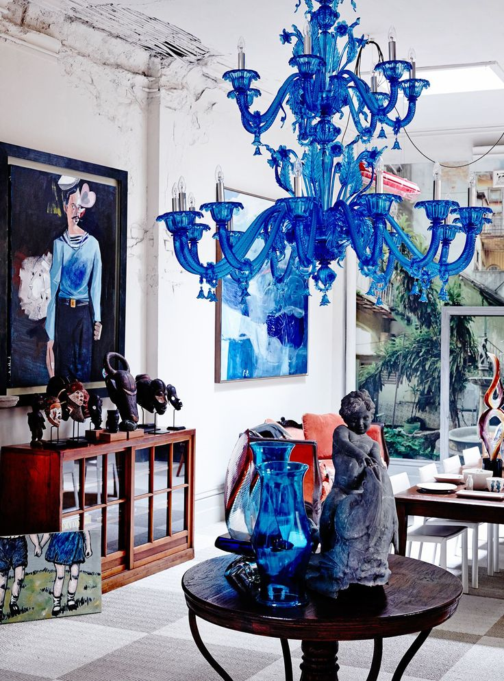 patternsnap  A blue Murano glass chandelier, mid-century sculptures from Ghana, a Japanese university cabinet and paintings by David Bromley (on floor), McLean Edwards and George Raftopoulos.: [object Object]