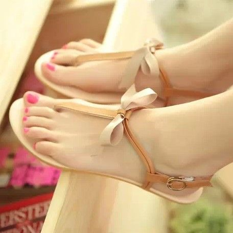 Women's Sandals 2014 Summer Fashion Slippers Sweet Women Flat Shoes With BowtieSize 36-40 Free Shipping