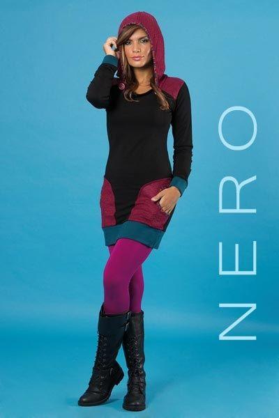 Vestito etnico con cappuccio Double Color - Nero