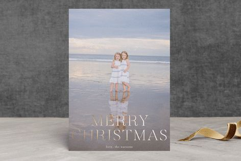 """""""formal fancy merry"""" - Full-Bleed Photo, Modern Foil-pressed Holiday Cards in Full Bleed by Phrosne Ras. #merry #happyholidays #foil #gold #rosegold #merrychristmas #photocards #minted #holidayscards #cards #christmas #holiday #happynewyear #cheers #love #merrybright #religious #bright"""