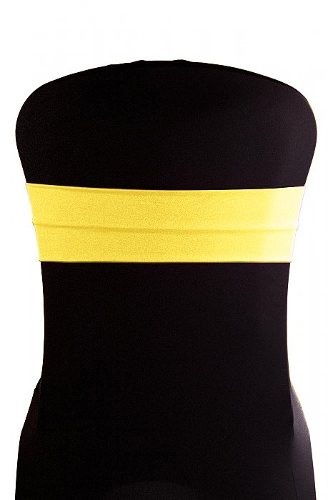 yellow spandex chair sashes bed bath and beyond leg covers lycra bands
