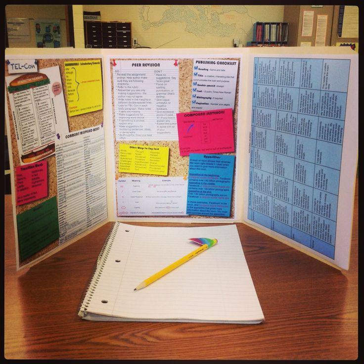 The 'Writing Desk' - printable worksheets to staple inside 2 overlapping manilla folders. Filled with tons of great ideas like: common spelling errors, punctuation, transition words, publishing checklist, editing errors, rubric, etc.