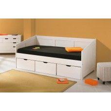 Letto singolo legno bianco con 3 cassettoni camera da letto ragazzi HENRIETTE 20900190