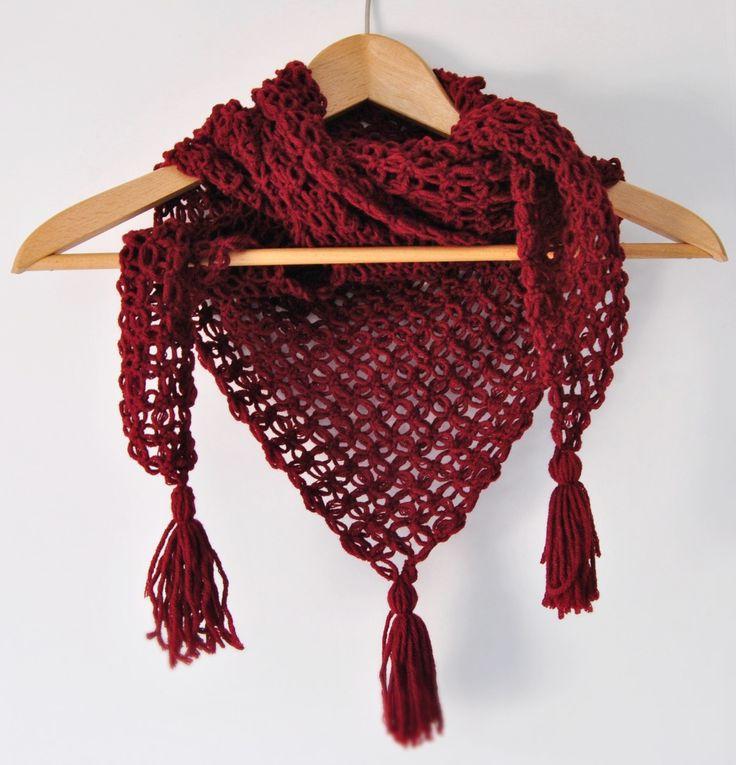 #red #crochet #wool #gift #woman #shawl #scarf #handmade