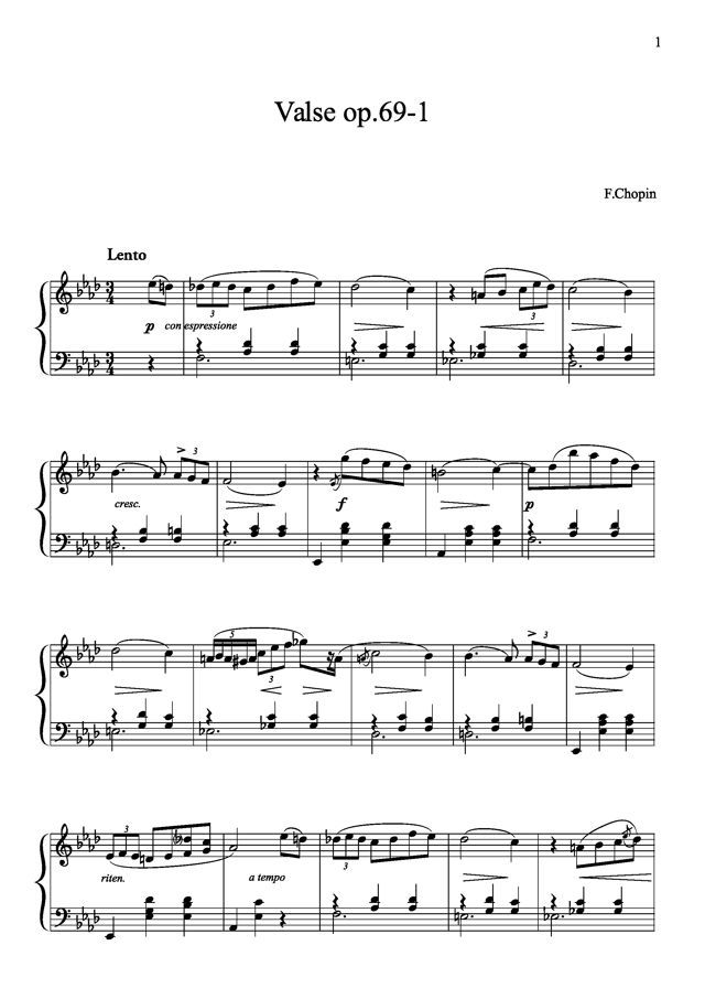Partitions gratuites : Chopin, Frédéric - Op.69-1 As - Valse Opus 69-1 (Piano seul)