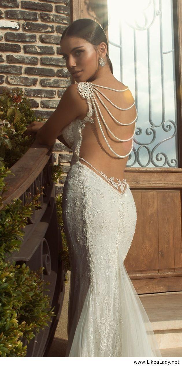 Pearl back detail wedding dress